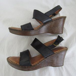 Born Black Leather ABIGAIL Wedge Sandal 6